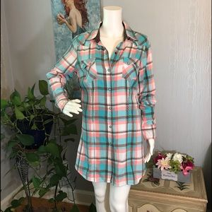 Tin Haul Snap Front Flannel Cowgirl Dress M